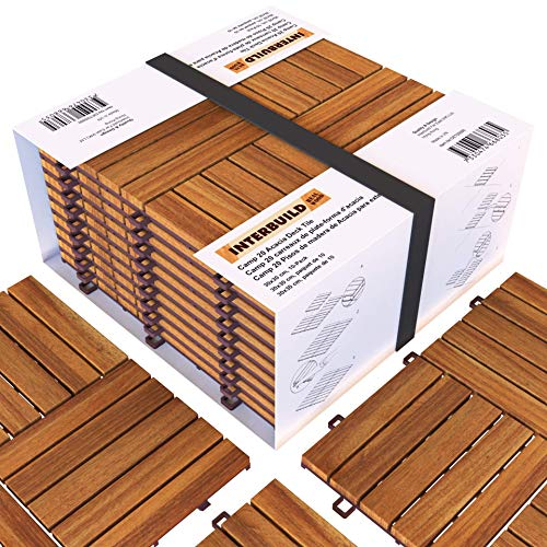 Interbuild Akazien Hartholz Deck Fliesen 30 × 30cm | Fῢr Deck, Patio & Balkon | 10 FLIESEN = 0,9 m2 pro PACKUNG| Millionen verkauft