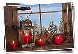 2018: 3 Stück Weihnachtskarte rot blau natur braun 4 brennende Kerzen ohne Text Karten Weihnachten weihnachtlich Landhaus-Stil Foto-Karte Foto-Motiv MIT KUVERT Klappkarten natürlich rustikal