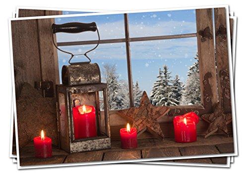 Set: 3pezzi rosso bianco blu marrone classico biglietti di natale lanterna con quattro candele rosse 14,8x 10,5cm geklappt con busta senza testo biglietti natalizi per clienti biglietti in foto.