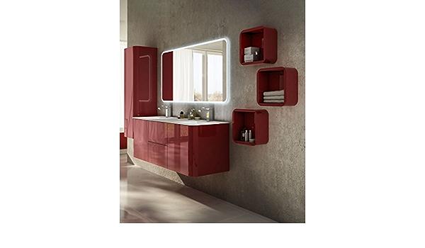 specchio misura cm140 2 lavabi Mobile bagno sospeso moderno Liverpool rosso