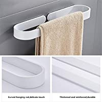 ZLDM Space Aluminum White Towel Rack Wall-mounted Towel Rail Single Pole Towel Bar Rust Prooft Punch-free For Bathroom Kitchen Office