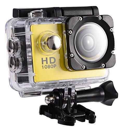 Mugast DV Sportkamera,7 Farben wasserdichte Outdoor Radsport 2,0 Zoll HD Bildschirm DV Action Kamera Camcorder mit USB Aufladung Speicherkarten Einfach Installieren(Gelb) 07 Lcd