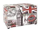 Sitztruhe mit London Motiv Maße in cm: 65 x 40