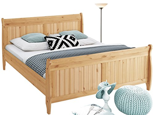 Bett REMY in verschiedener Größe 140cm/160cm/180cm zur Auswahl aus Kiefer massiv in gebeizt geölt/ weiß & honig (80, 44)