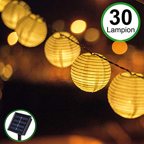 Solar Outdoor Lichterkette 30er 5.5m Led Lampion Laterne Lichterkette Außen Warmweiß Solarbetrieben Wasserdicht Dekoration für Garten Terrasse Hof usw.