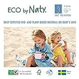 Eco by Naty, Talla 3, 100 pañales, 4-9kg, Pañal ecológico premium hecho a base de fibras vegetales. 0% plásticos derivados del petróleo en contacto con la piel.