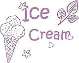 GRAZDesign 620387_40_042 Wandtattoo für Küche Eis Ice Cream | Für Küchen-Wände - Bäckereien - Cafeteria - Eisdiele | für Küchen-Rückwände aus Fliesen - Möbel- Schränke (50x40cm//042 flieder)