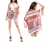 Mousseline Blouse Kimono Plage , Chcikwin Femme Cardigan Mousseline Blouse Kimono Plage Bikini Cover-Up Coat Châle (A)