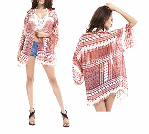 Kimono Chiffon Bluse Strandkleider , Chickwin Chiffon Kimono Cardigan Blumen Bikini Cover up Sommer Swim Bluse Tops (A)