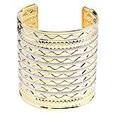 Lureme Women Carved Welle Fish Silber Glitter Gold Tone Open End Breit Cuff Armreif Armband 06000605-1