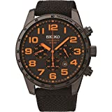 Seiko Mens Black IP Steel Orange Detail Canvas Strap SSC233P9