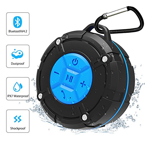 Backture Lautsprecher Wasserdicht Bluetooth Dusche Lautsprecher IPX7 Portable Mini Wireless Outdoor Lautsprecher mit Saugnäpfen, Mikrofon, Freisprecheinrichtung (Blue)