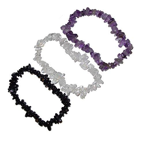 3 Stück Splitter Armbänder AURA SCHUTZ : Bergkristall Amethyst und schwarzer Turmalin Schörl (4762)