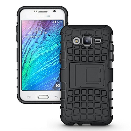 PES Shock Proof Protective Rugged Armor Super Hybrid Heavy Duty Back Case Cover For Samsung Galaxy J5 - Rugged Black