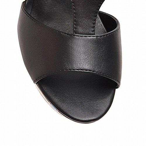 Mee Shoes Damen Peep toe Schnalle Plateau Slingback Sandalen Schwarz