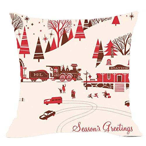 Ronamick Kissenbezug Kissenhülle Taille 45 x 45 cm Plüsch Streifen Vintage Weihnachten Santa Claus Sofa Bett Home Decorative Auto Haus (A)