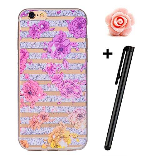 iPhone 7 Plus Hülle (5,5 Zoll),TOYYM Transparent Kristall Ultra Dünn [Perfect fit] Soft Bumper Handyhülle Case TPU Silikon Backcover,Durchsichtige Schutzhülle Anti-scratch mit Retro Muster Design hint Farbverlauf Blumen