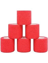 Comomed Bandage cohésif cohésif Pansement Bandage adhésif 5cm 6rouleaux de ruban adhésif Rouge