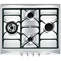 Smeg SR264XGH Integrado Encimera de gas Acero inoxidable hobs - Placa (Integrado, Encimera de gas, Acero inoxidable, hierro fundido, 1050 W, 1650 W)
