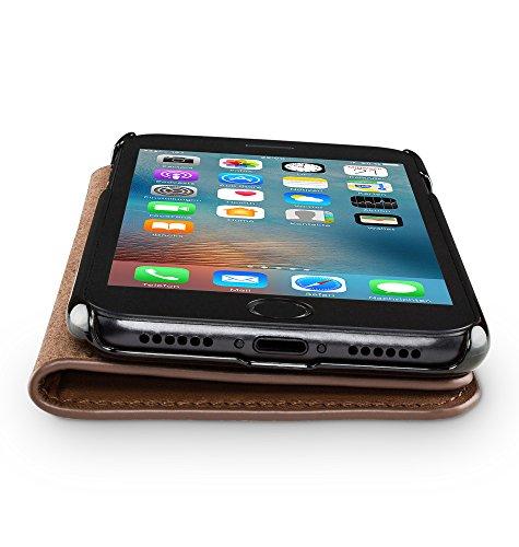 WIIUKA Echt Ledertasche TRAVEL NATURE Apple iPhone 6S und iPhone 6 DEUTSCHES-LEDER Braun mit Kartenfach extra Dünn Tasche Premium Design Leder Hülle Braun