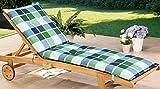 Schwar Textilien Rollliegenauflage Liege Gartenliege Liegestuhl Liegestuhlauflage 8cm dick karomuster (blau-grün)