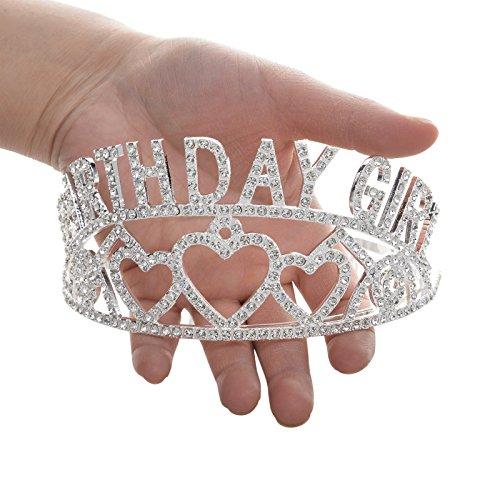 SWEETV Espumoso Birthday Girl Niños Niña Cumpleaños Tiara Diadema Rhinestone Fiesta Corona, Transparente