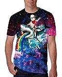 chicolife Unisex 3D drucken lustige Herren Short Sleeve Shark Fahrt Cat T-Shirts bunten UK S-XXL