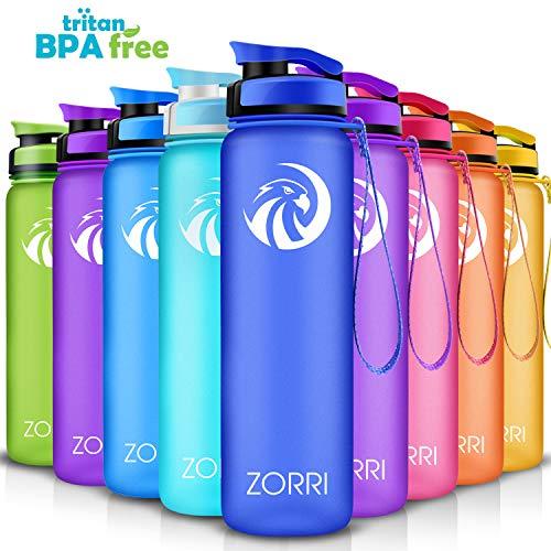 ZORRI Sport Trinkflasche auslaufsicher, BPA Frei & Umweltfreundlich Wasserflasche Für Kinder & Frauen, One Handed Open & Tritan, Für Gym/Outdoor/Camping - Dunkelblau - 800ml