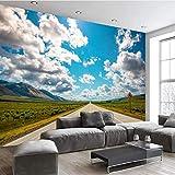 Pbldb Personalice Cualquier Tamaño De Papel Pintado Fresco 3D Cielo Azul Nubes Blancas Hierba Camino Sala De Estar Dormitorio Telón De Fondo-400X280Cm