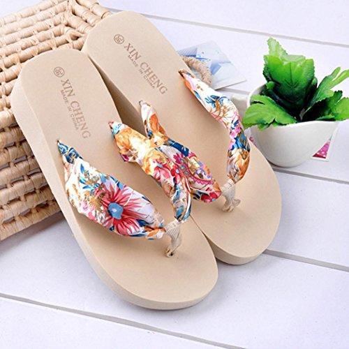Sandales Femme Bohême Floral Satin Couleur Compensé, QinMM Strings Pantoufles Plage Tongs Plate-forme Beige