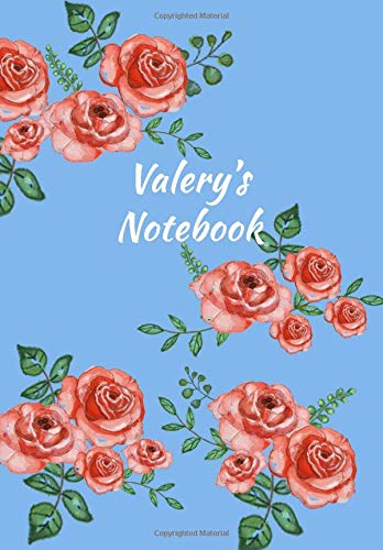 Valery's Notebook: Personalized Journal - Garden Flowers Pattern. Red Rose Blooms on Baby Blue Cover. Dot Grid Notebook for Notes, Journaling. Floral Watercolor Design with First Name