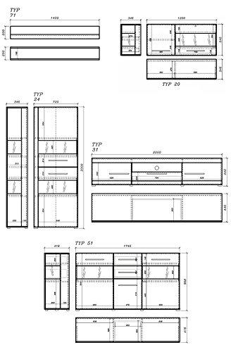 Wohnzimmer komplett 440904 weiß / weiß Hochglanz 6-teilig - 2
