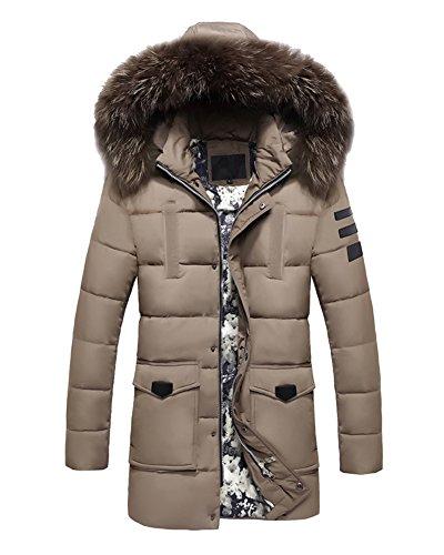 LaoZan Herren Warmer Mantel Lange Jacke Winterjacke mit Kapuze Mantel Parka Warm Outwear Khaki