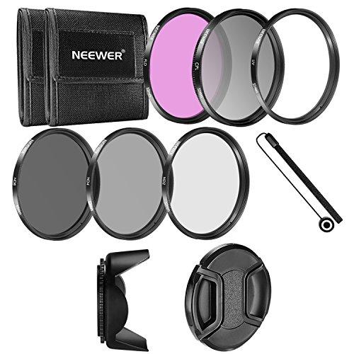Galleria fotografica Neewer - 52MM Fotocamera Filtro Accessorio Kit per NIKON D3300 D3200 D3100 D3000 D5300 D5200 D5100 D5000 D7000 D7100 DSLR Fotocamera, Kit Include: 52mm Filtri Kit (UV, CPL, FLD,ND2, ND4, ND8)+Parasole a Forma di Tulipano+Copriobiettivo +Cinturino per Copriobiettivo +Borsetta Portabile per Filtri+ Panno di Pulizia in Microfibra