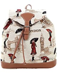Pequeño Mochila de mujeres para hecho en tela tapiz, diseñado por Signare Miss London