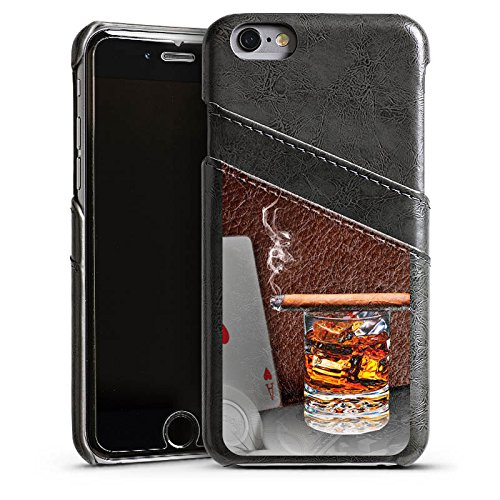 Apple iPhone 5 Housse Étui Silicone Coque Protection Cigare Whisky Cartes Étui en cuir gris