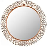 "Different Art Decorative Burnt Copper Finishing Round Iron Wall Mirror for Living Room (DAE2529_28.3"" X 1.2"" X 28.3"")"