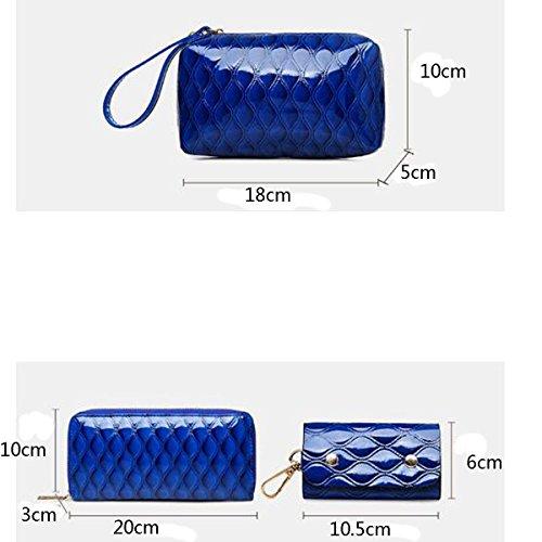 Damen Tasche 6 Stück Einkaufstasche Top-Griff Handtasche Helle Haut Set Red