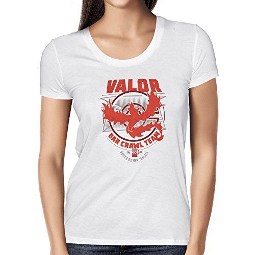 NERDO - Bar Crawl Team Valor - Damen T-Shirt, Größe XL, (Kostüm Pokemon Trainer Rote)