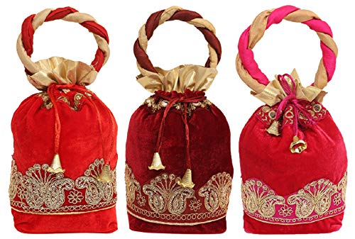 Kuber Industries Exclusive Zari Lace Velvet Rajasthani Potli Bag/Clutch/Bridal Clutch (Multi) Set of 3 Pcs-KESH658