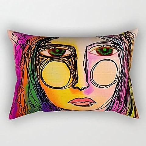 oliyneco abstracto pintura digital de una mujer lona de algodón rectángulo decorativo fundas de almohada Throw almohada funda de cojín, 50,8cm x