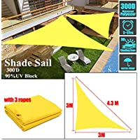 YLA Impermeable Sun Shelter Triangle Sunshade Protection CoverPatio Pool Shade Sail Awning Camping, Amarillo 3x3x4.3m