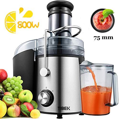 centrifuga frutta e verdura, estrattore di succo freddo con 75mm bocca larga, motore potente da 800 w, piedi anti-scivolosi e facile pulizia, centrifuga di acciaio inox con 2 velocità, senza bpa