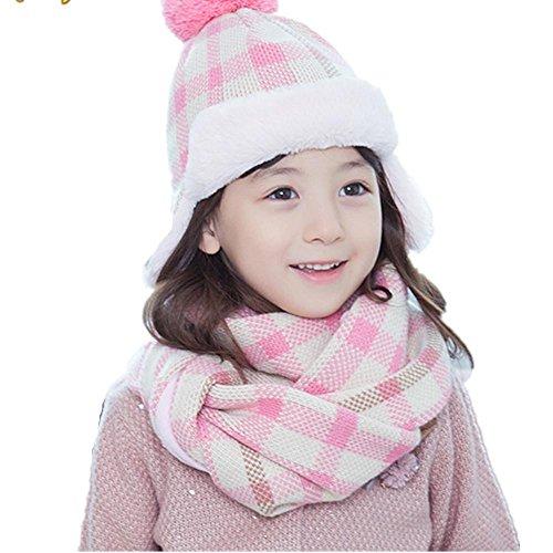 automne-hiver-chaud-paississement-deux-pices-bonnet-charpe-en-laine-pour-enfants-pink-grid