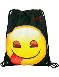 Undercover Sac à chaussures Emoji avec Langue, Env. 32,5x 45cm Sac de gym Noir