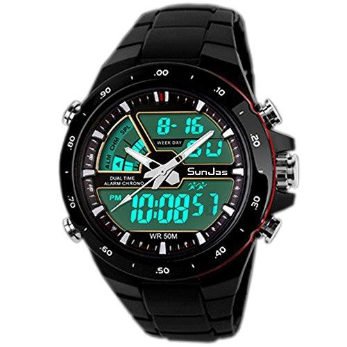 Sunjas - orologio sportivo per uomo, resistente all'acqua fino a 50m, braccialetto digitale con luci, cinturino removibile, multifunzione per sport all'aria aperta nero