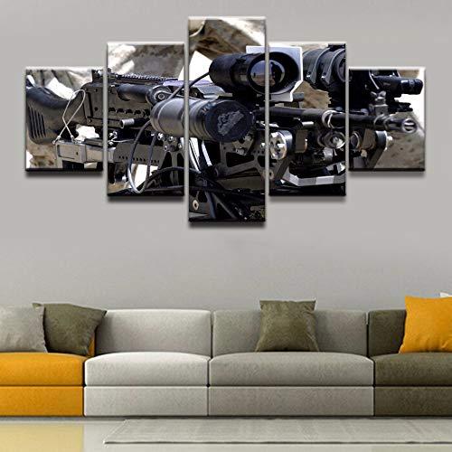 MIYCOLOR Leinwand Malerei Home Dekorative Wohnzimmer Oder Schlafzimmer Wandkunst 5 Panel Machine Gun Poster Gedruckt Modulare Bild Leinwand drucken, 40x60 40x80 40x100 -