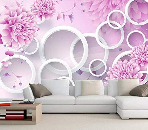 Kuamai Papel Tapiz Mural Mural 3D Personalizado, Mural De Flor Púrpura Romántica, Restaurante, Sala De Estar, Estudio Sofá, Pared, Dormitorio, Papel Tapiz Púrpura 3D-400X280cm