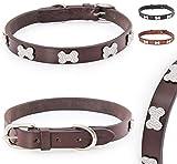 Pear - Tannery Luxury-Line Hundehalsband aus weichem Vollrindleder, Versehen mit Einer Knochen-Kristall-Verzierung mittig, XXS 24-34cm, Chocolate