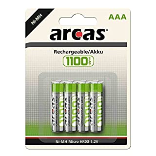 Arcas 17711403 HR03 1100 mAh 1.2 V Rechargeable Battery - Multicolour (Pack of 4)